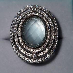 Judith Ripka SS Oval Cabochon Blue Topaz & CZ Ring
